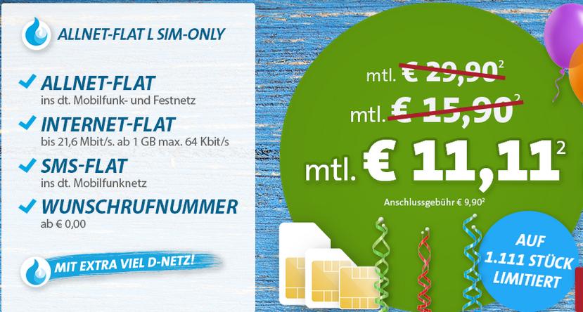 SIM only nur 1.111 Stück: Allnet-/SMS-/Daten-Flat (1GB) im Telekom Netz für nur 11,11 Euro